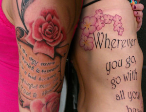 Pink Rose and Quote Tattoo On Side Rib