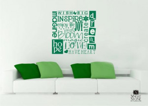 Wall Decal Quote Wish Big - Vinyl Text Wall Words Stickers Art