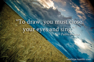 art, draw, pablo picasso, paint, quote, word