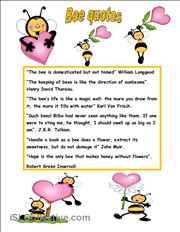 BEES QUOTES worksheet - Free ESL printable worksheets made by teachers