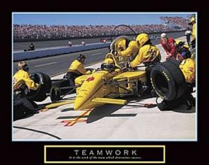 Race Car Teamwork Poster 10x8