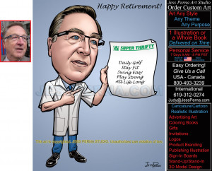 Pharmacist Retirement Caricature Drawn from Photos