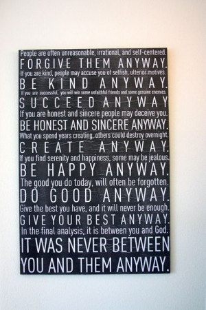 ... Brook created this wall art with Mother Teresa's words - beautiful