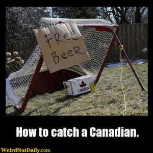 Case of Canadian beer under a hockey goal with a puck holding it up ...
