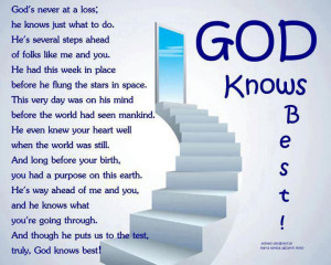 God Knows Best...