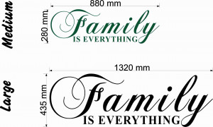Family is everything quote size chart wall art decal vinyl sticker