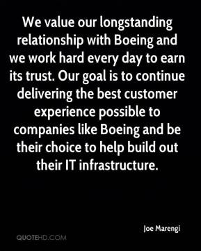 Joe Marengi - We value our longstanding relationship with Boeing and ...