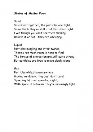 Poetry About Science Matter