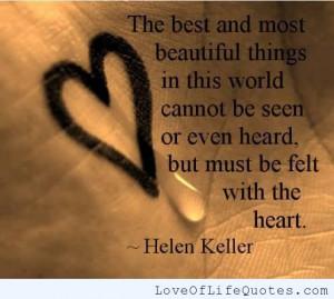 Helen Keller quote on Beautiful things