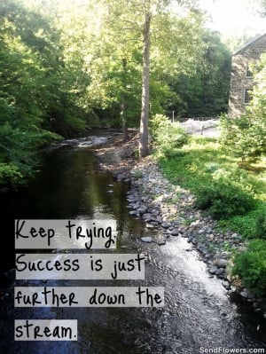 ... keep trying success is just further down the stream # quotes # nature