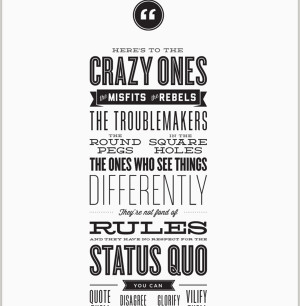Letterpress 'The Crazy Ones' quote by Steve Jobs apple, poster ...