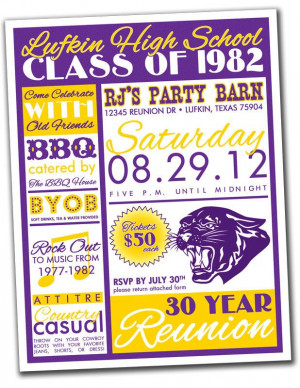Reunion Invitation Package - High School, College, Family - You print ...