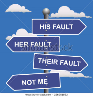 Arrow, signs, not, my, fault, shifting, blame - stock vector