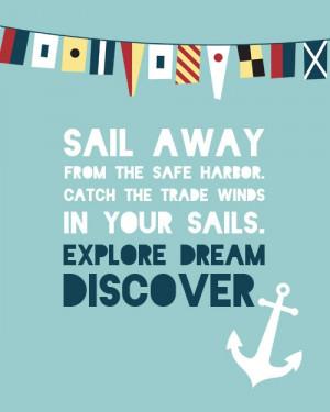 Mark Twain Quote - #Nautical Print - Explore Dream Discover. $15.00 ...