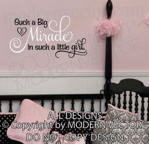 Details about BIG MIRACLE in a LITTLE GIRL Quote Vinyl Wall Decal Word ...