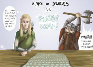 Legolas and Gimli VS Bubble Wrap by BlackLemonJuice