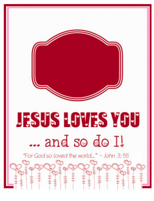 """FREE Printable """"Jesus Loves You"""" Valentine and DIY Necklace"""
