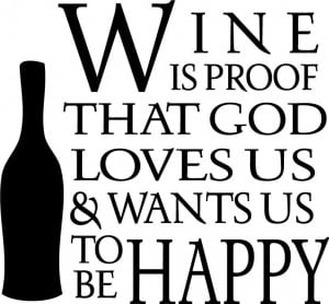 Wine is Proof God Kitchen Cute Decor vinyl wall decal quote sticker ...
