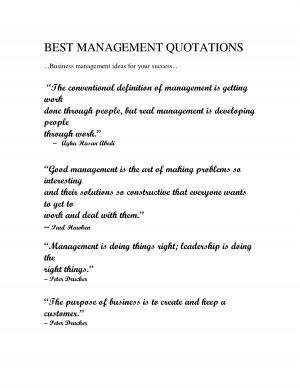 BEST MANAGEMENT QUOTATIONS Business management ideas for your success ...