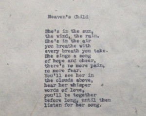 Poem Heaven's Child Loss of Child Baby Girl Death Grief Bereavement ...