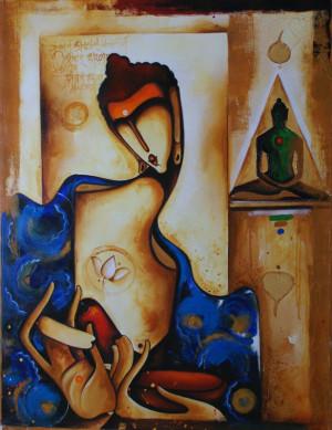 ... painting #canvas #quotation #Hindi #pose #lotus #Buddhism Siddhartha