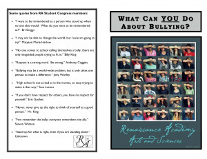 ... back cover includes quotes about bullying from Renaissance students