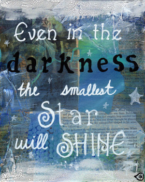 Mixed Media Quote Painting Inspirational Art Stars by treetalker