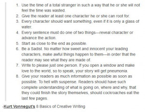 Kurt Vonnegut's 8 basics of creative writing: Writing Journ, Writing ...