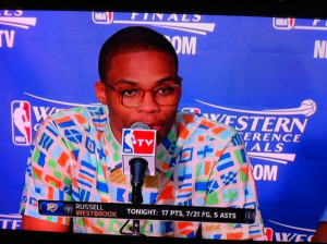 Man what is Russell Westbrook thinking putting that shirt on.