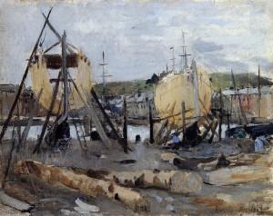 Bateaux de moins de Construction (Berthe Morisot)