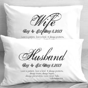 Wife Husband Bible Verse Pillow Cases 1 Corinthians 13 Love Wedding ...