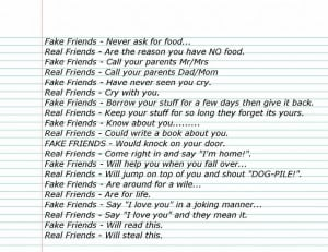 Fake Friends Vs. Real Friends.