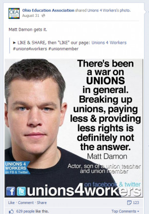 ... unions in general damon a vocal advocate of teachers unions sends his