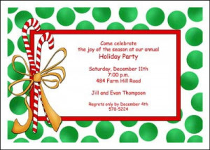 Christmas Candy Canes Party Invite Cards