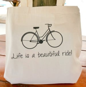 Life is a beautiful ride tote bag from handmadeandcraft.etsy