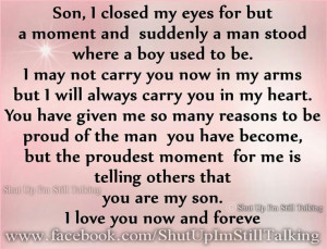 Proud Mother to Son Quotes | Via Toni Pruden