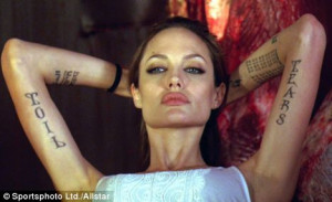 Inking man's pin-up: Angelina as Fox in the film Wanted, sporting ...