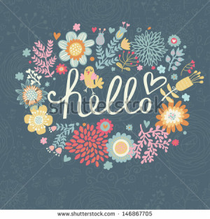 Bright summer card on floral seamless background. Floral design for ...