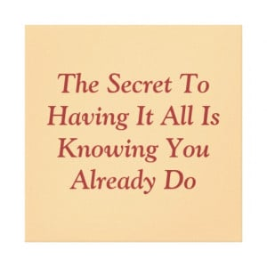 Secret Quote Wall Hanging Canvas Prints