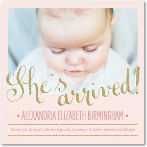 Glitter and Metallic Baby Birth Announcements for Girls