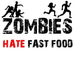 FUNNY SAYINGS TSHIRT! ZOMBIES HATE FAST FOOD SHIRT! ZOMBIE SHIRT ADULT ...