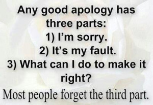 any good apology has 3 parts:1)I'm sorry2)It's my fault3)What can I do ...