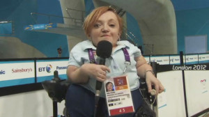 Stella Young commentates at the 2012 Paralympics in London (ABC News)