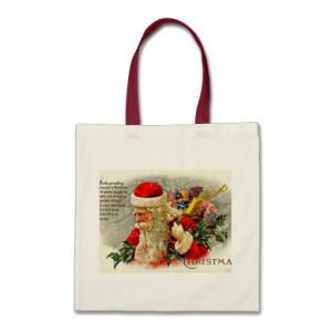 Santa Claus Quote - Vintage Merry Christmas Canvas Bag