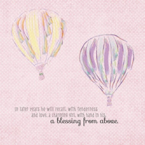 Hot Air Balloons - Love Art - Wedding Gift - 8x8 Print -Romantic Quote ...