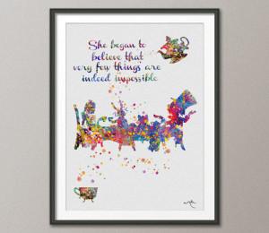 Mad Hatter Tea Party Quote Alice in Wonderland Watercolor Print Tea ...