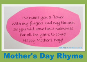 photo of: Mother's Day rhyme for handprint, Mother's Day poem for ...