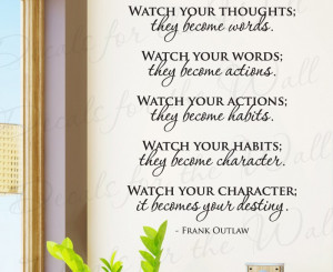 Watch Your Thoughts Frank Outlaw Vinyl Wall Decal Quote