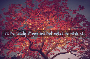 Nice Beauty Quote – Its the Beauty of your Soul that Makes me Whole
