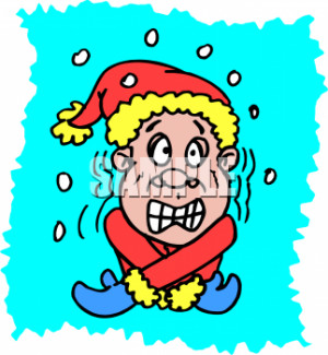 Weather Clip Art Picture of a Guy Shivering with Snow Falling Around ...
